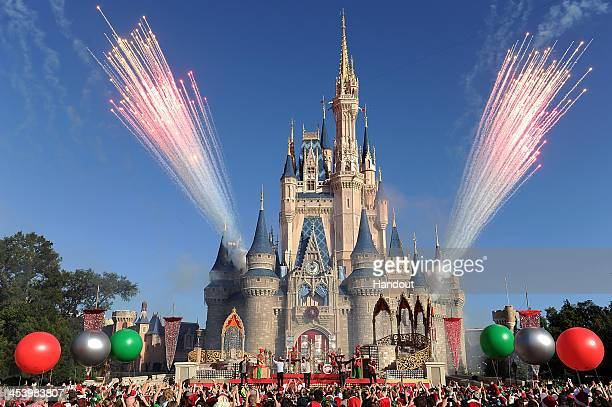 In this handout photo provided by Disney Parks EnglishIrish boy band The Wanted performs 'Santa Claus is Coming To Town' while taping the Disney...