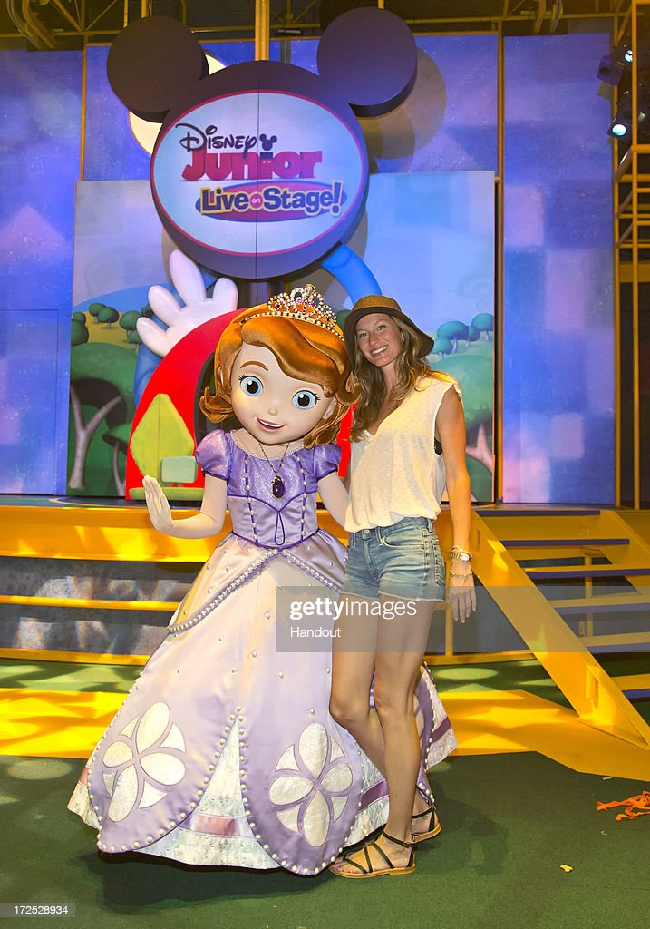 In this handout photo provided by Disney Parks, Gisele Bundchen poses with Princess Sofia, the star of Disney Junior's popular animated series, 'Sofia the First,' who is now greeting guests daily at Disney California Adventure park July 2, 2013 in Anaheim, California. Later this summer, Princess Sofia will begin appearances at Disney's Hollywood Studios at the Walt Disney World Resort in Orlando, Florida.