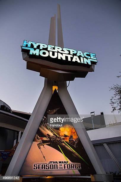 In this handout photo provided by Disney Parks HYPERSPACE MOUNTAIN During Season of the Force the classic Space Mountain attraction is reimagined as...