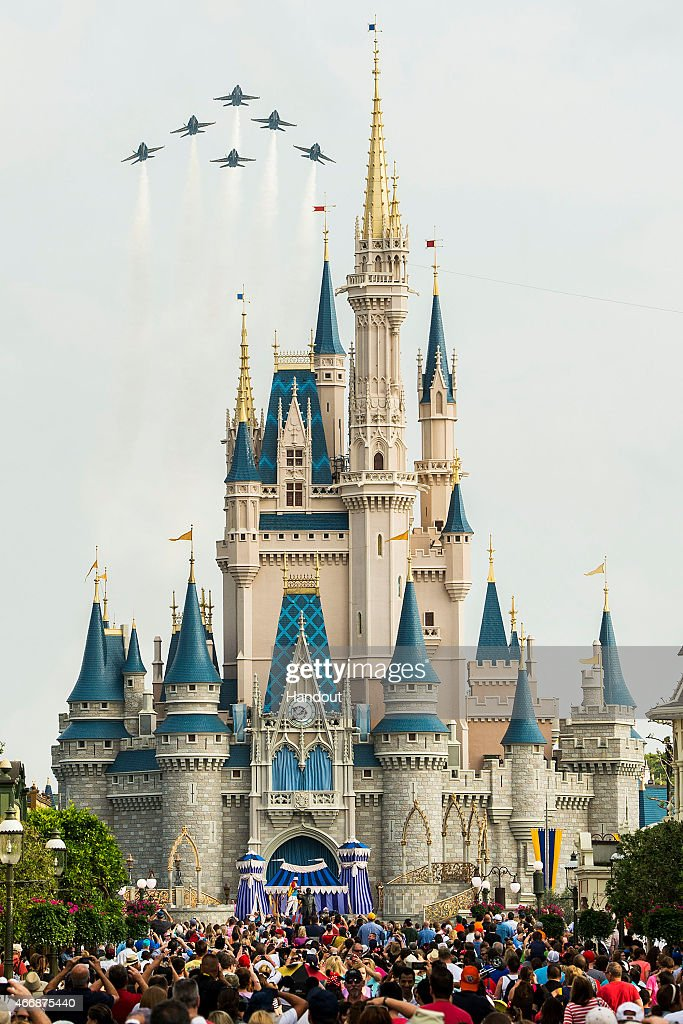 In this handout photo provided by Disney Parks in a special moment for Magic Kingdom guests the US Navy Flight Demonstration Squadron the Blue Angels...