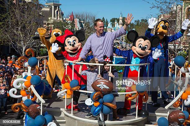 In this handout photo provided by Disney Parks In honor of the Denver Broncos' victory at Super Bowl 50 the Disneyland Resort saluted quarterback...