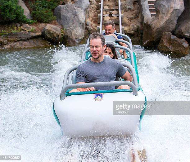 In this handout photo provided by Disney Parks Matt Damon rides Matterhorn Bobsleds with family and friends August 20 2015 at Disneyland park in...