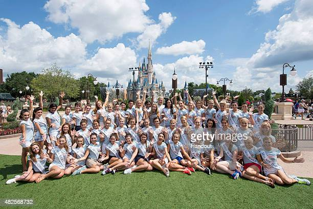 In this handout photo provided by Disney Parks Miss America 2016 contestants gathered for the first time and posed with Miss America 2015 Kira...