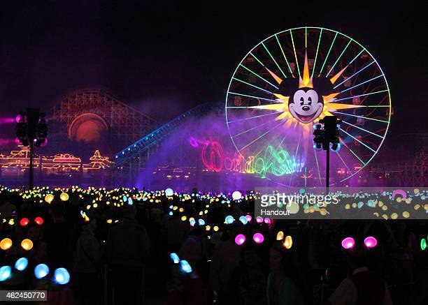 In this handout photo provided by Disney Parks of 'World of Color Celebrate' Disneyland Resort celebrates its 60th anniversary with a preview of its...