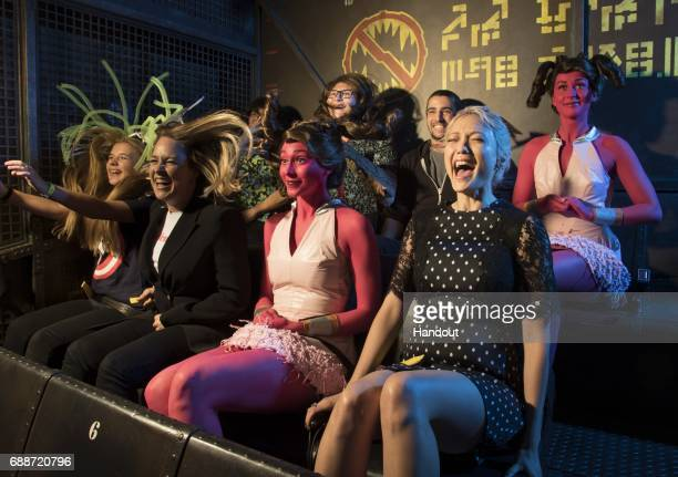 In this handout photo provided by Disney Parks Pom Klementieff attends the grand opening of the new Guardians of the Galaxy Mission BREAKOUT...