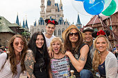 In this handout photo provided by Disney Parks Rockstar Steven Tyler celebrates his birthday alongside family and friends at Magic Kingdom Park at...