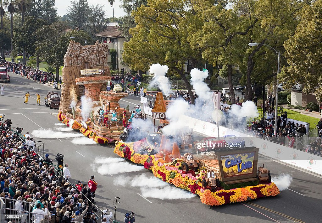 In this handout photo provided by Disney Parks, the Disneyland Resort entry in the 2013 Rose Parade, brings to life the whimsical magic of Cars Land, a new land in the expanded Disney California Adventure park, before a worldwide television audience on January 1, 2013 in Pasadena, California. The Disney float, dubbed 'Destination: Cars Land,' showcases the landmarks of Cars Land with a colorful re-creation of the roadside town of Radiator Springs. Shaped like the state of California, the 125-foot long float features flowing water, smoke-puffing baby tractors and 45 animated parts, including replicas of Lightning McQueen and Sally as they relive their fun-spirited road race from the first Disney-Pixar 'Cars' movie.