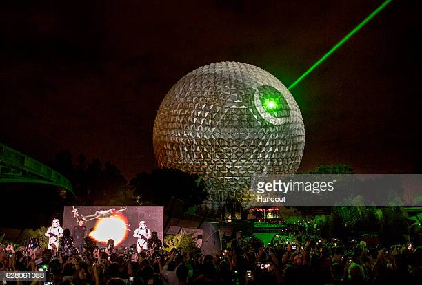 In this handout photo provided by Disney Parks to celebrate the upcoming release of 'Rogue One A Star Wars Story' the iconic Spaceship Earth at Walt...