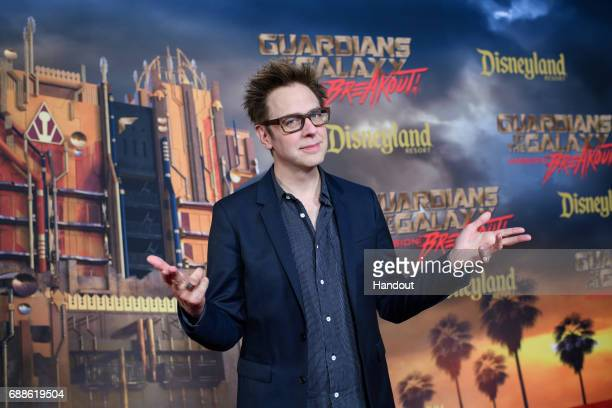 In this handout photo provided by Disney Resorts director James Gunn attends the grand opening of Guardians of The Galaxy Mission BREAKOUT attraction...