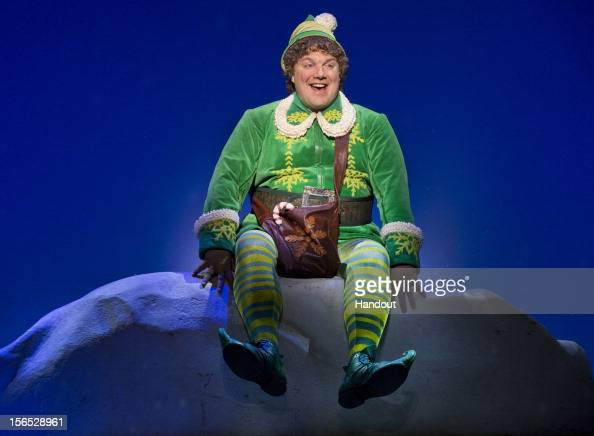 In this handout photo provided by Elf the Musical on Broadway Jordan Gelber as Buddy performs in 'Elf' on Broadway November 9 2012 at the Al...