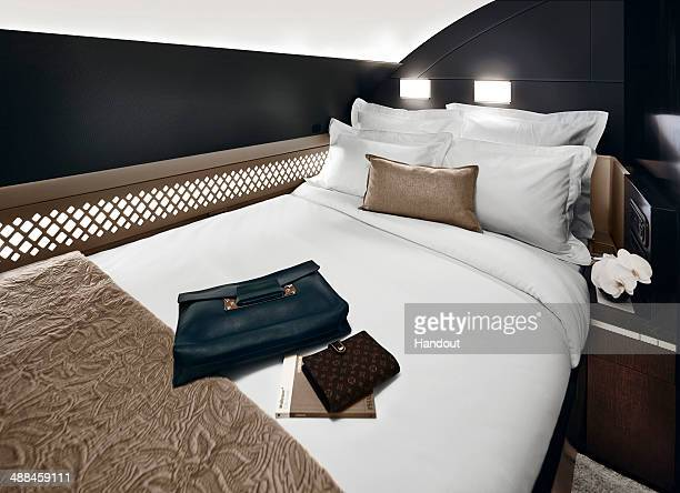 In this handout photo provided by Etihad Airways a general view of The Residence bedroom is seen on board a Etihad Airways Airbus A380 Etihad Airways...