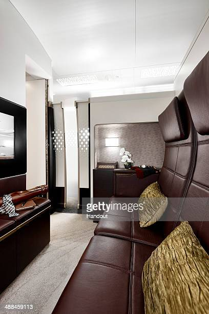In this handout photo provided by Etihad Airways a general view of The Residence lounge is seen on board a Etihad Airways Airbus A380 Etihad Airways...