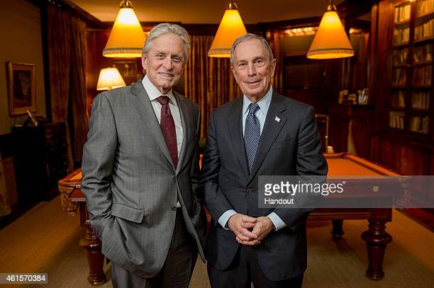 In this handout photo provided by Genesis Prize Foundation Michael Douglas and Michael Bloomberg are photographed at Douglas' home January 12 2015 in...