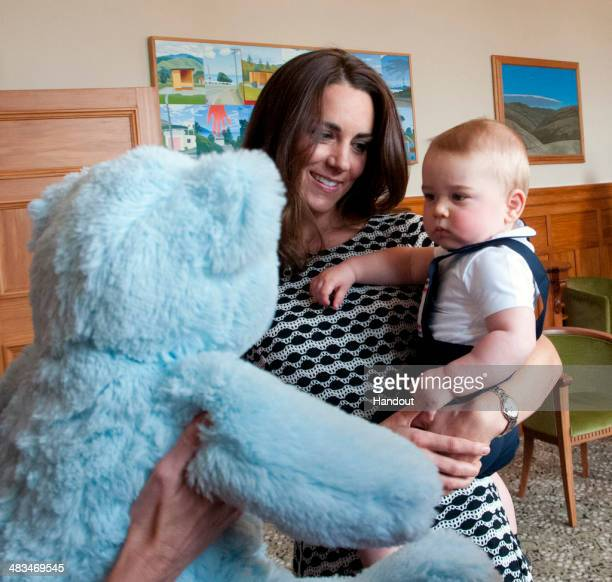 In this handout photo provided by Government House NZ Catherine Duchess of Cambridge and Prince George of Cambridge attend Plunkett's Parent's Group...