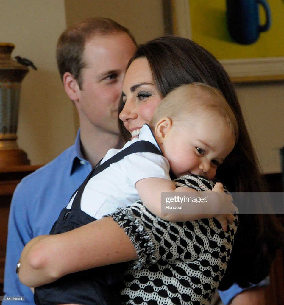 In this handout photo provided by Government House NZ, Prince William, Duke of Cambridge, <a gi-track='captionPersonalityLinkClicked' href=/galleries/search?phrase=Catherine+-+Hertiginna+av+Cambridge&family=editorial&specificpeople=542588 ng-click='$event.stopPropagation()'>Catherine</a>, Duchess of Cambridge and Prince George of Cambridge attend Plunkett's Parent's Group at Government House on April 9, 2014 in Wellington, New Zealand. The Duke and Duchess of Cambridge are on a three-week tour of Australia and New Zealand, the first official trip overseas with their son, Prince George of Cambridge.