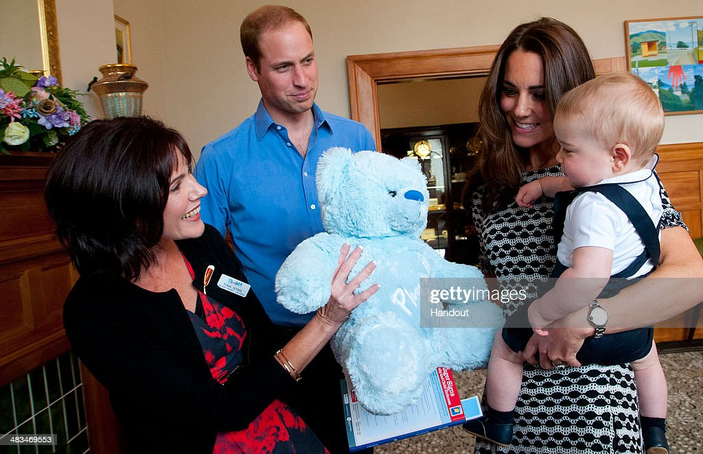 In this handout photo provided by Government House NZ, <a gi-track='captionPersonalityLinkClicked' href=/galleries/search?phrase=Prince+William&family=editorial&specificpeople=178205 ng-click='$event.stopPropagation()'>Prince William</a>, Duke of Cambridge, <a gi-track='captionPersonalityLinkClicked' href=/galleries/search?phrase=Catherine+-+Duchess+of+Cambridge&family=editorial&specificpeople=542588 ng-click='$event.stopPropagation()'>Catherine</a>, Duchess of Cambridge and <a gi-track='captionPersonalityLinkClicked' href=/galleries/search?phrase=Prince+George+of+Cambridge&family=editorial&specificpeople=11176510 ng-click='$event.stopPropagation()'>Prince George of Cambridge</a> attend Plunkett's Parent's Group at Government House on April 9, 2014 in Wellington, New Zealand. The Duke and Duchess of Cambridge are on a three-week tour of Australia and New Zealand, the first official trip overseas with their son, <a gi-track='captionPersonalityLinkClicked' href=/galleries/search?phrase=Prince+George+of+Cambridge&family=editorial&specificpeople=11176510 ng-click='$event.stopPropagation()'>Prince George of Cambridge</a>.