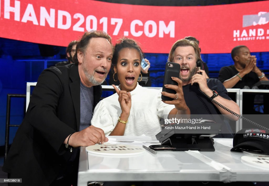 In this handout photo provided by Hand in Hand, Billy Crystal, Kerry Washington and David Spade attend Hand in Hand: A Benefit for Hurricane Relief at Universal Studios AMC on September 12, 2017 in Universal City, California.