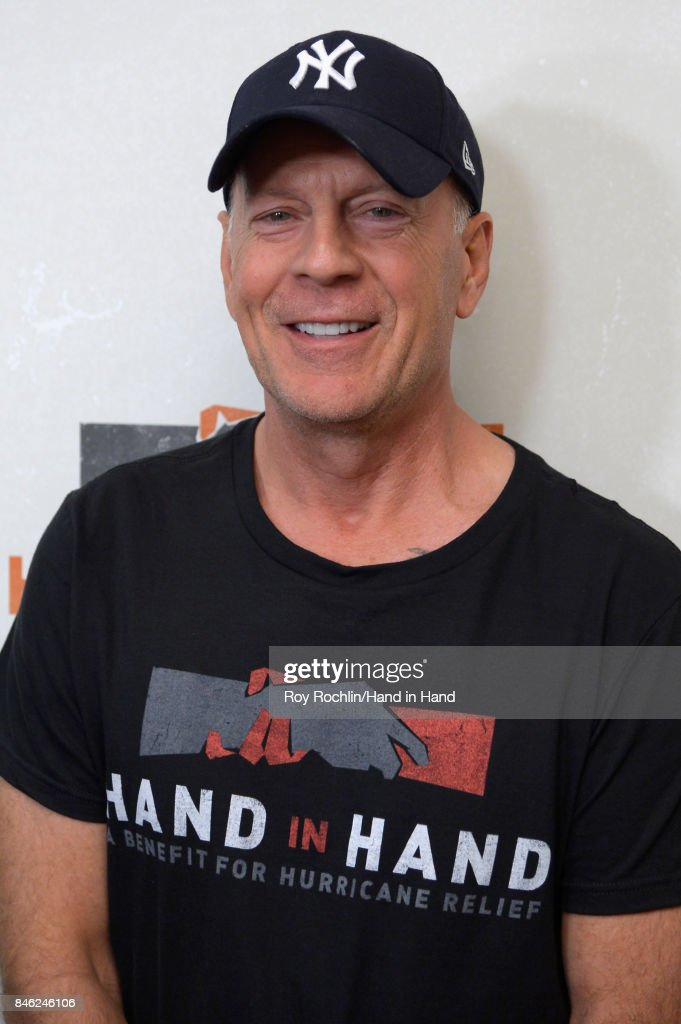 In this handout photo provided by Hand in Hand, Bruce Willis caption at ABC News' Good Morning America Times Square Studio on September 12, 2017 in New York City.
