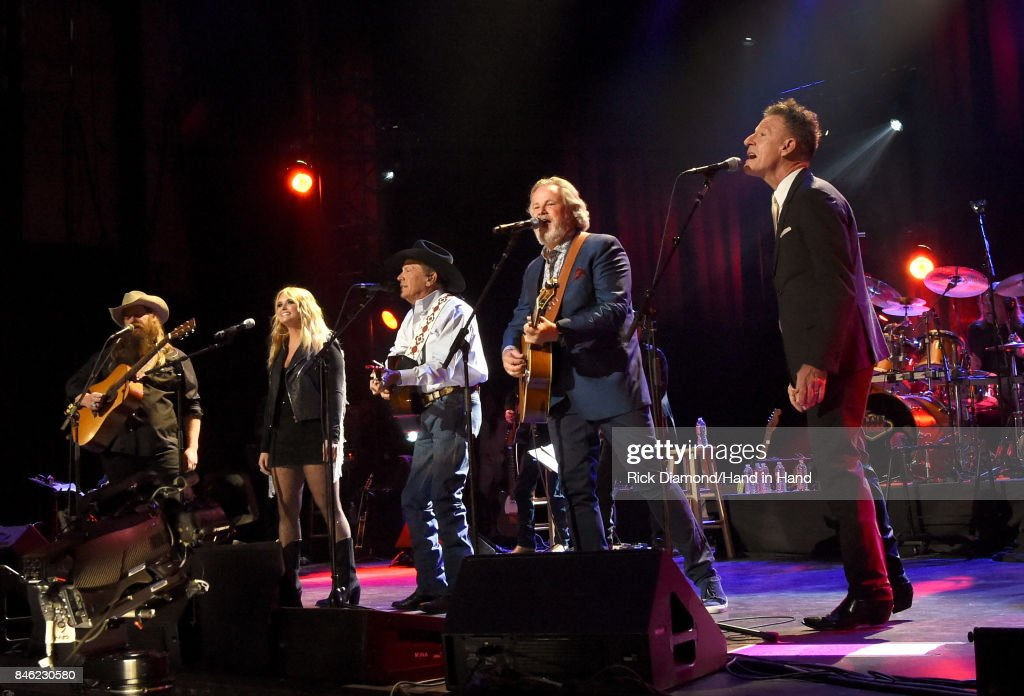 In this handout photo provided by Hand in Hand, Chris Stapleton, Miranda Lambert, George Strait, Lyle Lovett and Robert Early Keen perform onstage during George Strait's Hand in Hand Texas benefit concert at the Majestic Theatre on September 12, 2017 in San Antonio, Texas.