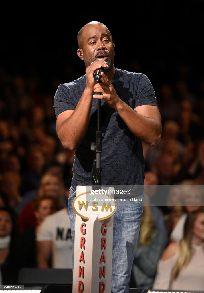 In this handout photo provided by Hand in Hand, Darius Rucker performs onstage during Hand in Hand: A Benefit for Hurricane Relief at the Grand Ole Opry House on September 12, 2017 in Nashville, Tennessee.