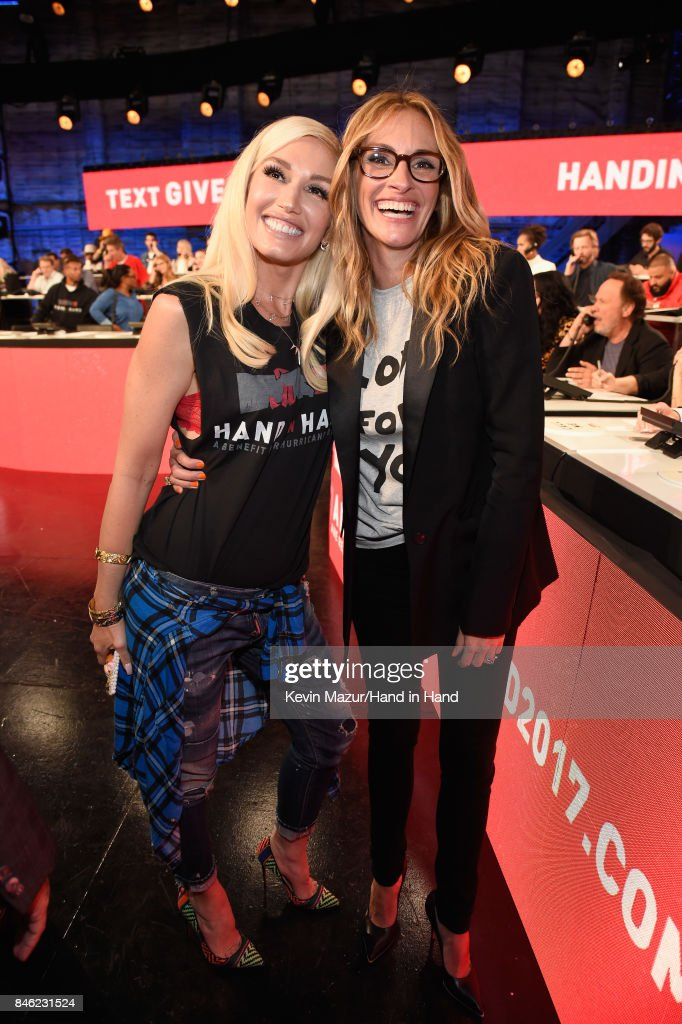 In this handout photo provided by Hand in Hand, Gwen Stefani and Julia Roberts attend Hand in Hand: A Benefit for Hurricane Relief at Universal Studios AMC on September 12, 2017 in Universal City, California.