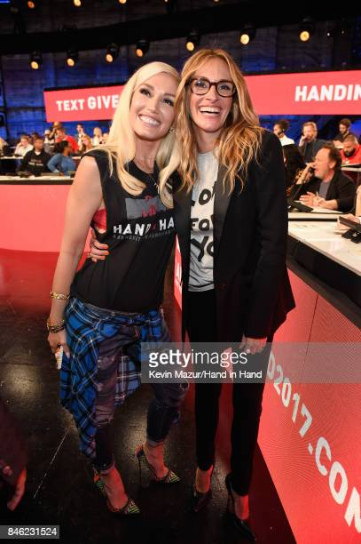 In this handout photo provided by Hand in Hand Gwen Stefani and Julia Roberts attend Hand in Hand A Benefit for Hurricane Relief at Universal Studios...