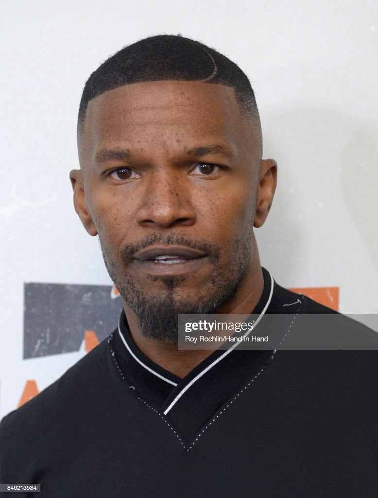 In this handout photo provided by Hand in Hand, Jamie Foxx caption at ABC News' Good Morning America Times Square Studio on September 12, 2017 in New York City.