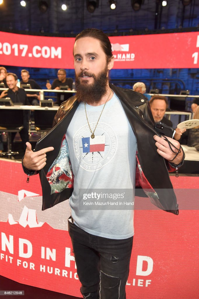 In this handout photo provided by Hand in Hand, Jared Leto attends Hand in Hand: A Benefit for Hurricane Relief at Universal Studios AMC on September 12, 2017 in Universal City, California.