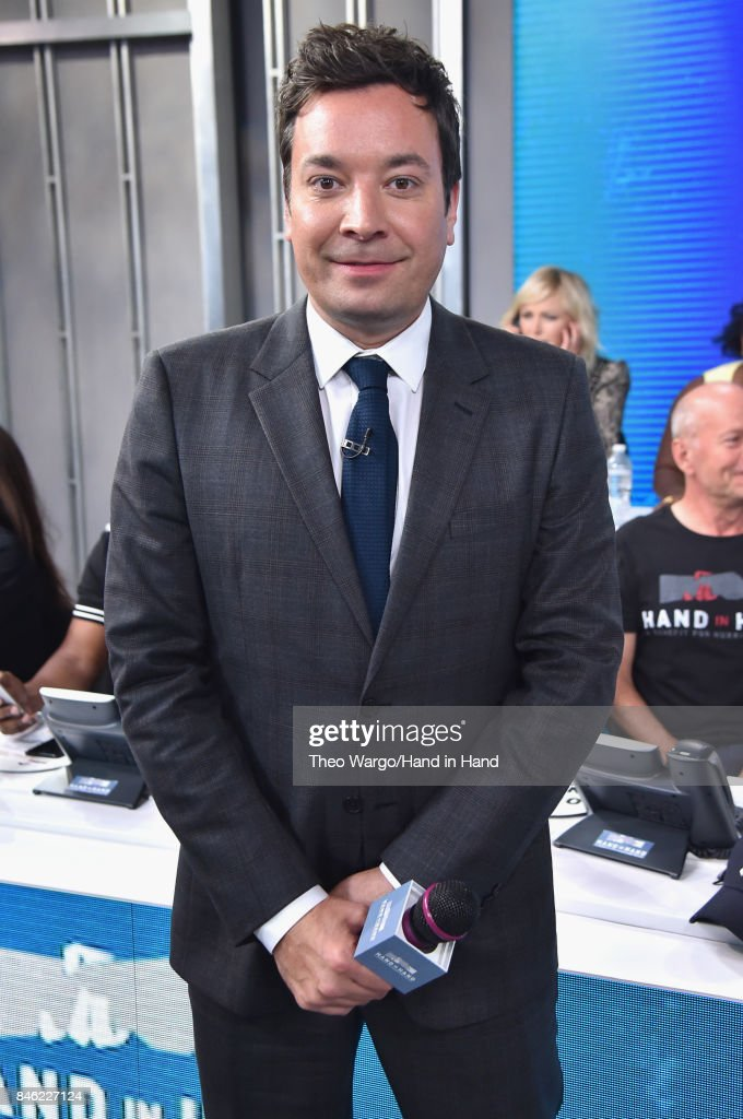 In this handout photo provided by Hand in Hand, Jimmy Fallon caption on at ABC News' Good Morning America Times Square Studio on September 12, 2017 in New York City.