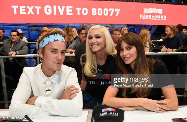 In this handout photo provided by Hand in Hand Justin Bieber Gwen Stefani and Sofia Vergara attend Hand in Hand A Benefit for Hurricane Relief at...