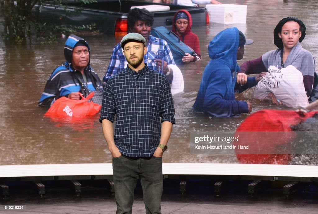 In this handout photo provided by Hand in Hand, Justin Timberlake attends Hand in Hand: A Benefit for Hurricane Relief at Universal Studios AMC on September 12, 2017 in Universal City, California.