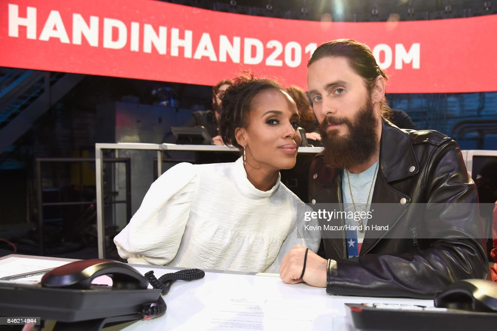 In this handout photo provided by Hand in Hand, Kerry Washington and Jared Leto attend Hand in Hand: A Benefit for Hurricane Relief at Universal Studios AMC on September 12, 2017 in Universal City, California.