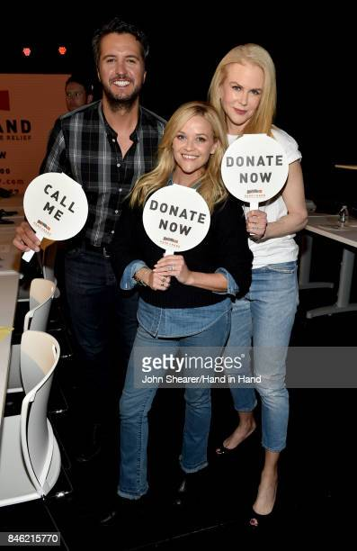 In this handout photo provided by Hand in Hand Luke Bryan Reese Witherspoon and Nicole Kidman attend Hand in Hand A Benefit for Hurricane Relief at...
