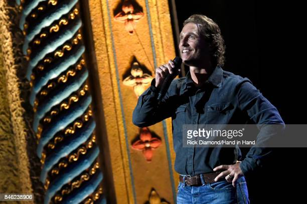In this handout photo provided by Hand in Hand Matthew McConaughey speaks onstage during George Strait's Hand in Hand Texas benefit concert Strait...