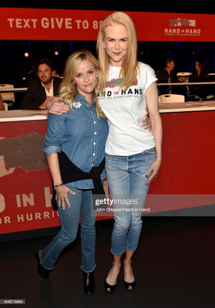 In this handout photo provided by Hand in Hand, Reese Witherspoon and Nicole Kidman attend Hand in Hand: A Benefit for Hurricane Relief at the Grand Ole Opry House on September 12, 2017 in Nashville, Tennessee.