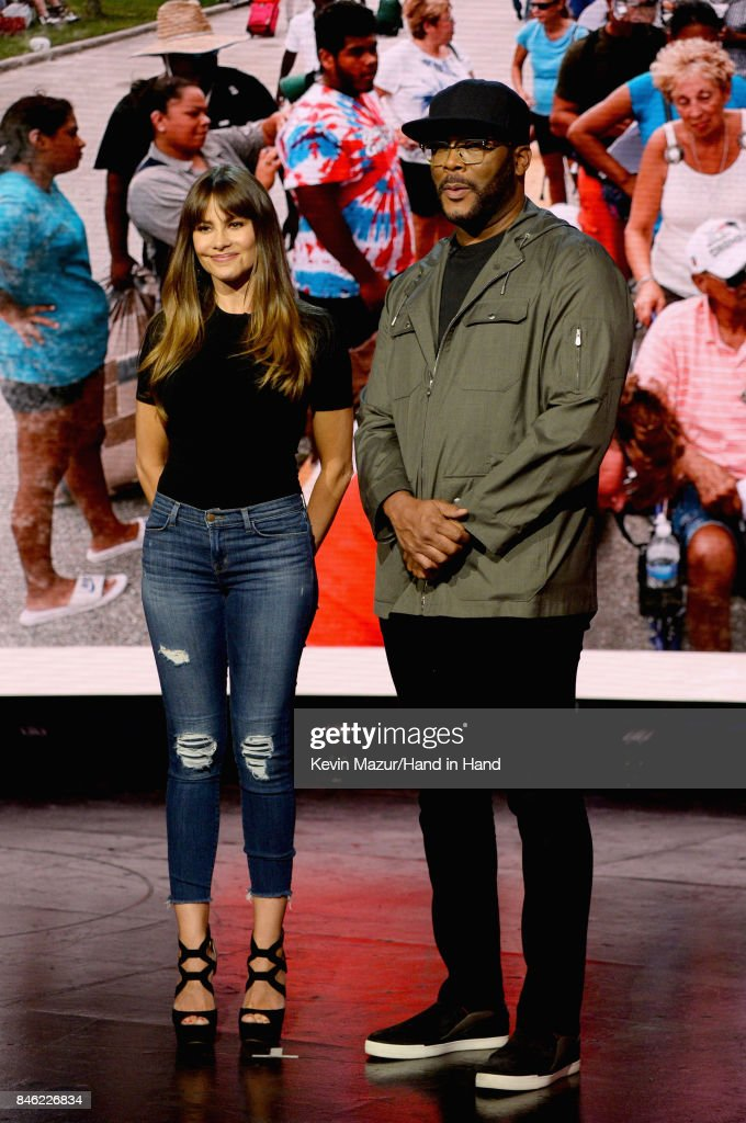 In this handout photo provided by Hand in Hand, Sofia Vergara and Tyler Perry attend Hand in Hand: A Benefit for Hurricane Relief at Universal Studios AMC on September 12, 2017 in Universal City, California.