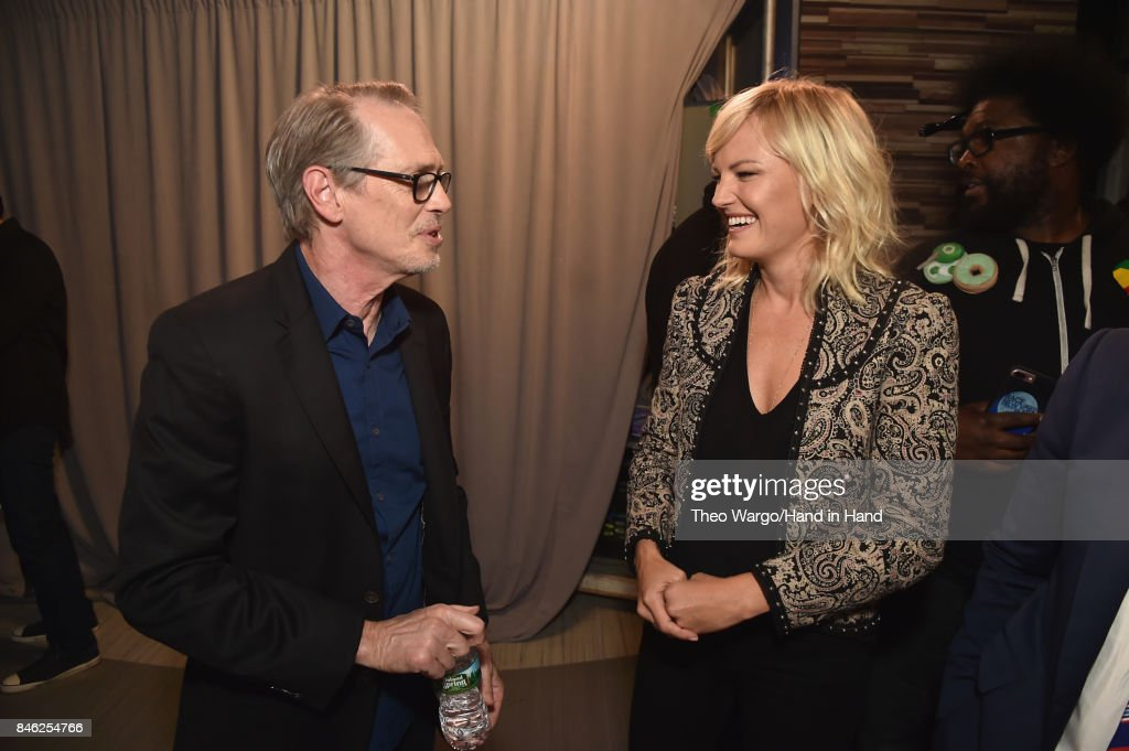 In this handout photo provided by Hand in Hand, Steve Buscemi and Malin Akerman caption at ABC News' Good Morning America Times Square Studio on September 12, 2017 in New York City.