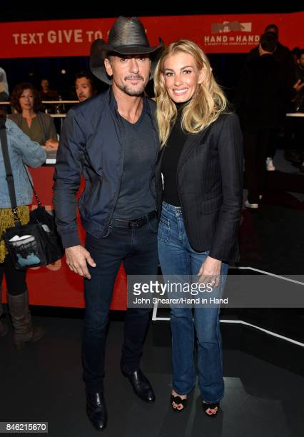 In this handout photo provided by Hand in Hand Tim McGraw and Faith Hill attend Hand in Hand A Benefit for Hurricane Relief at the Grand Ole Opry...
