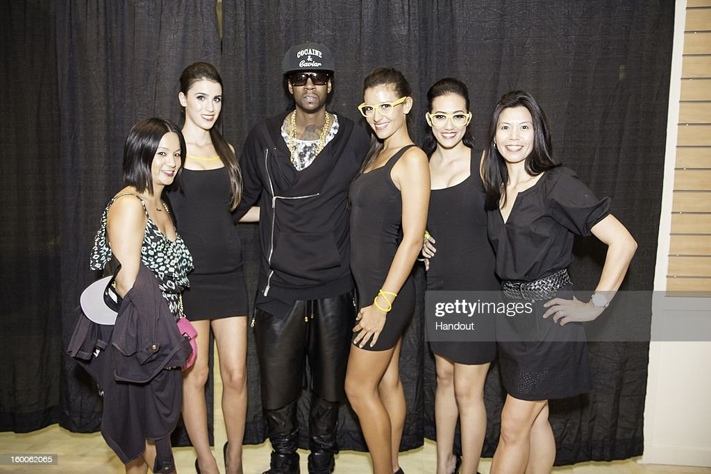 In this handout photo provided by Hennessy, <a gi-track='captionPersonalityLinkClicked' href=/galleries/search?phrase=2+Chainz&family=editorial&specificpeople=8559144 ng-click='$event.stopPropagation()'>2 Chainz</a> poses during an event at Aloha Tower Marketplace on January 24, 2013 in Honolulu, Hawaii.