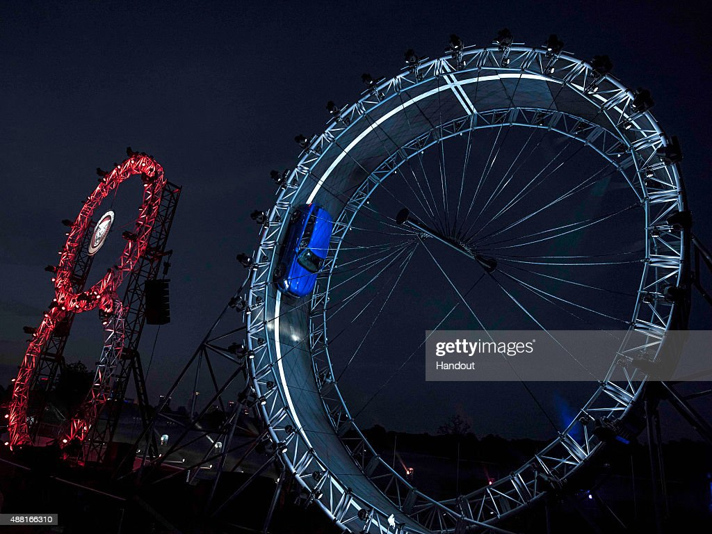 In this handout photo provided by Jaguar a Jaguar FPACE driven by Terry Grant breaks the Guinness World Record for largest loop the loop drive in a...