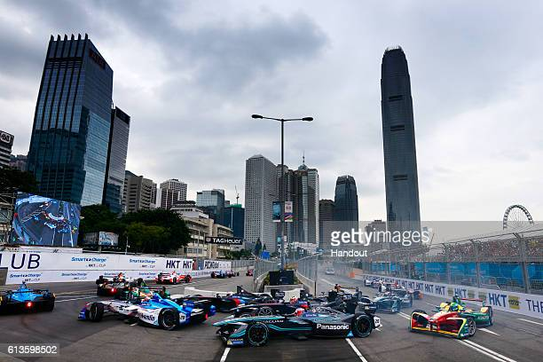 In this handout photo provided by Jaguar Racing Mitch Evans of New Zealand driving the Panasonic Jaguar Racing car at the start of the race during...