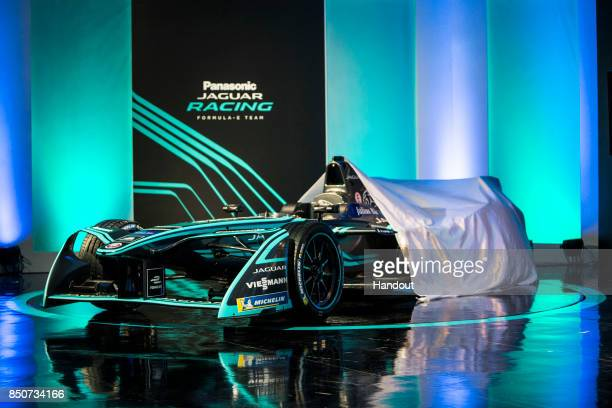 In this handout photo provided by Jaguar Racing The new Jaguar Racing ITYPE 2 Formula E car is unveiled during the Panasonic Jaguar Racing RECHARGE...