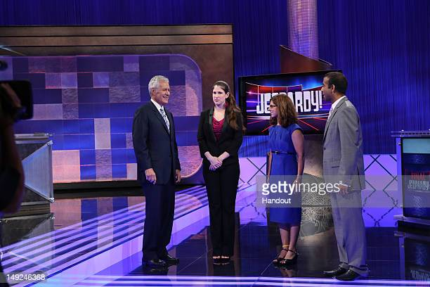 In this handout photo provided by Jeopardy Productions Inc 'Jeopardy' Host Alex Trebek returned to the set at Sony Pictures Studios to tape the first...