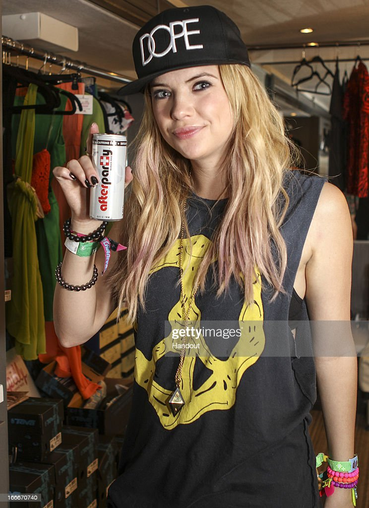 In this handout photo provided by Kari Feinstein PR, Ashley Benson Afterparty, and wearing Dope, Electric Picks, Rock On attends the Kari Feinstein's style lounge on the road in the desert April 14, 2013 near Indio, California.