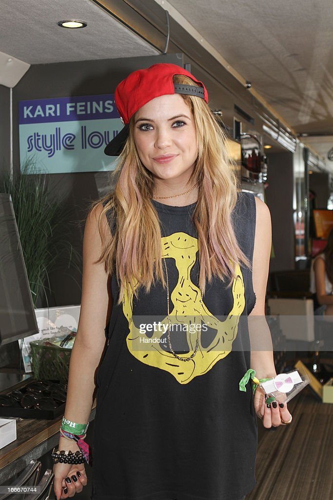 In this handout photo provided by Kari Feinstein PR, Ashley Benson wearing Stella and Bow necklace and Electric Picks bracelets attends the Kari Feinstein's style lounge on the road in the desert April 14, 2013 near Indio, California.
