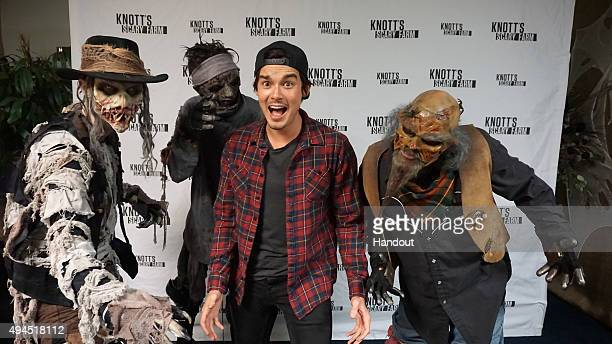 In this handout photo provided by Knott's Berry Farm actor Tyler Blackburn visits Knott's Scary Farm October 26 2015 at Knott's Berry Farm in Buena...