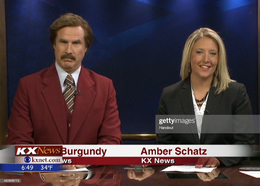 In this handout photo provided by KXMB TV Bismarck Ron Burgundy participates in the KX News evening broadcast with Amber Schatz on November 30 2013...