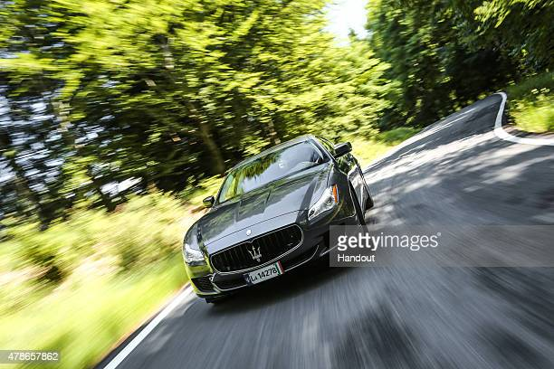 In this handout photo provided by Maserati Maserati June 7 2015 in Trivero Italy New York Knicks basketball player and NBA AllStar Carmelo Anthony...