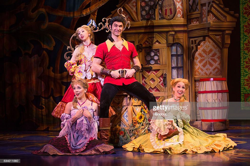 In this handout photo provided by Matthew Murphy/NETworks, Christiaan Smith-Kotlarek as Gaston and the Silly Girls of Disneys Beauty and the Beast May 24, 2016. Disneys Beauty and the Beast Broadway musical is returning to Fort Lauderdale Broward Center for the Performing Arts June 15 - 19, 2016.