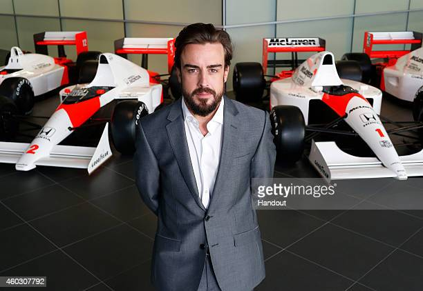 In this handout photo provided by McLarenHonda Formula One driver Fernando Alonso poses as McLarenHonda announces its new driver lineup for 2015 on...
